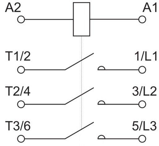 Изображение контактора на принципиальной электрической схеме