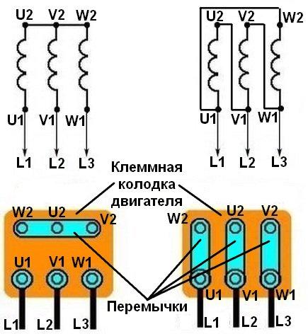 Соединение обмоток двигателя «звездой» и «треугольником»